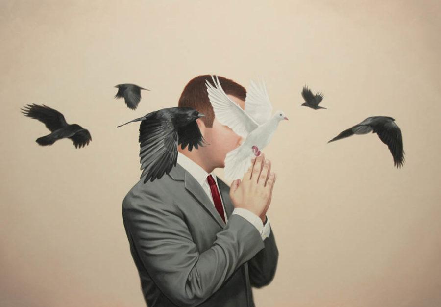 мужчина и птицы