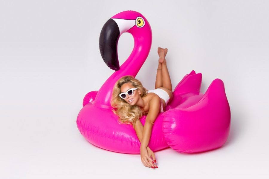 фламинго и девушка