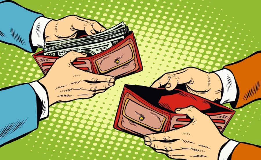 мужчина дает деньги женщине