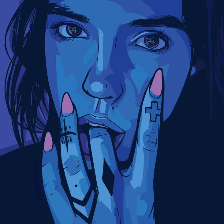 Девушка облизывает палец