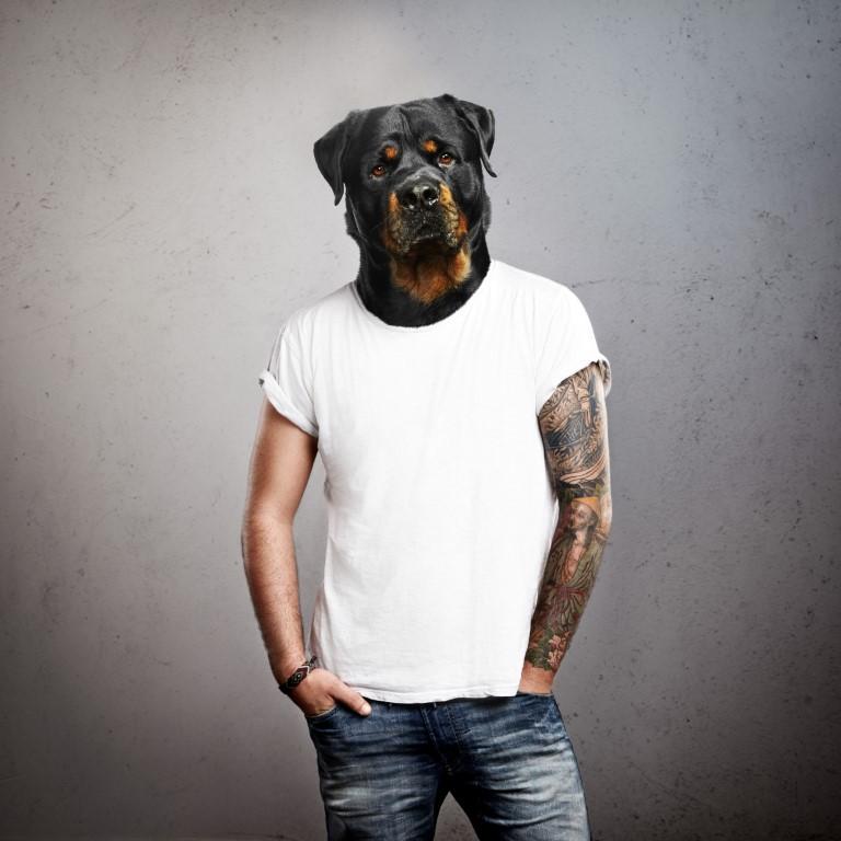 парень с головой собаки