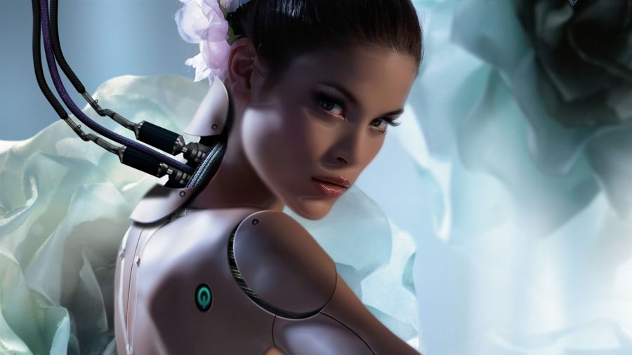 девушка робот смотрит