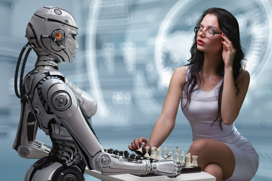 девушка и девушка робот