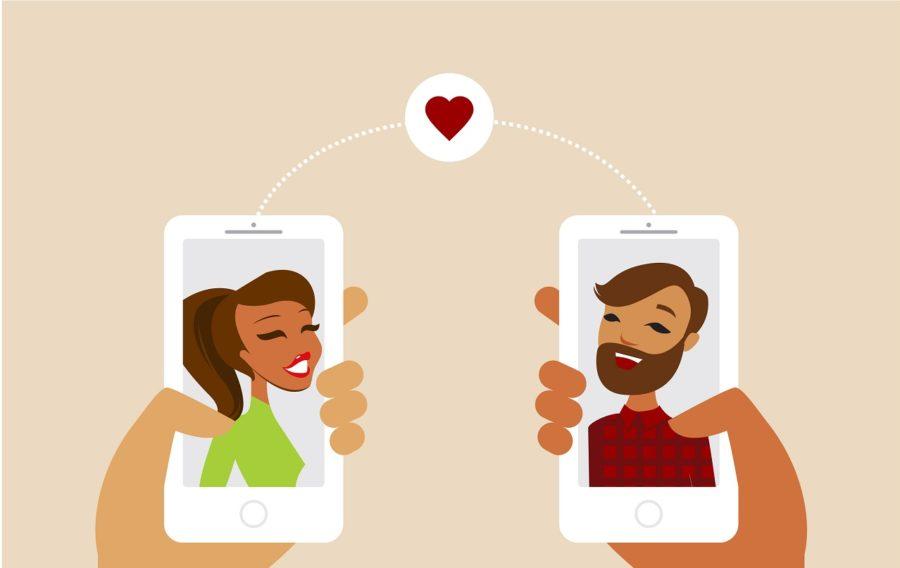 смартфоны с изображением парня и девушки