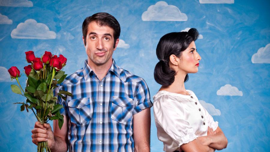 Парень с девушкой с цветами