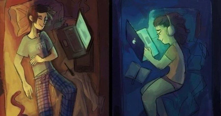 Парень и девушка лежат с ноутбуками