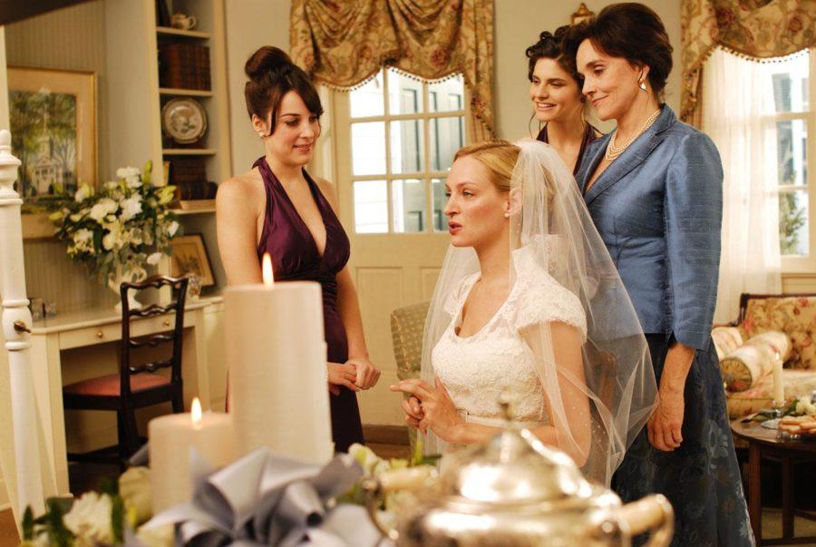 ума турман в свадебном платье