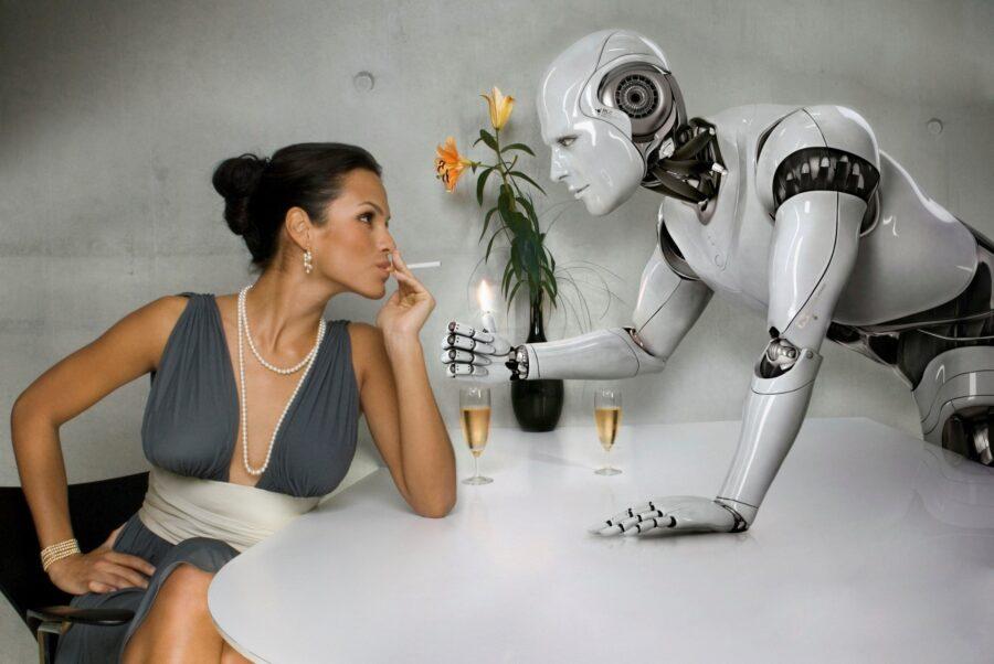 робот и девушка за столом