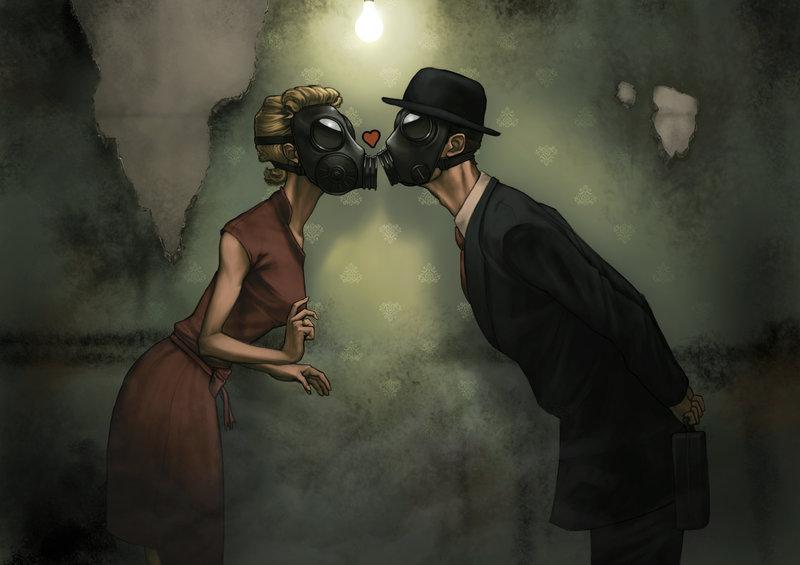 поцелуй в респираторе