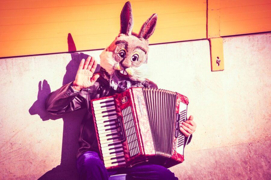 мужчина в костюме зайца играет на баяне