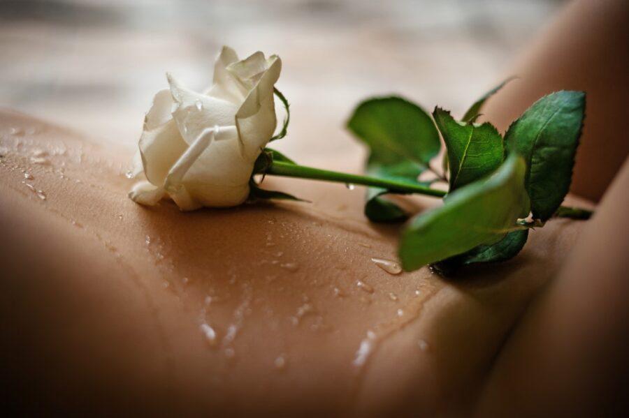 девушка с розой на обнаженным теле