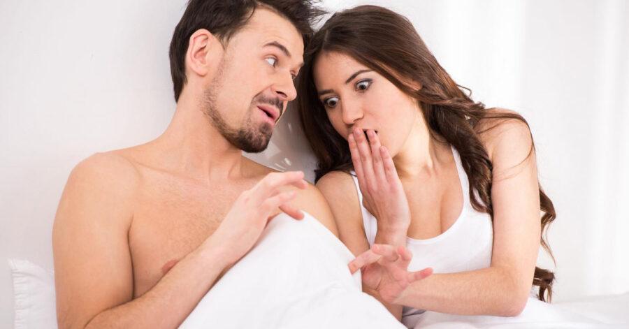 девушка и парень удивленные в постели