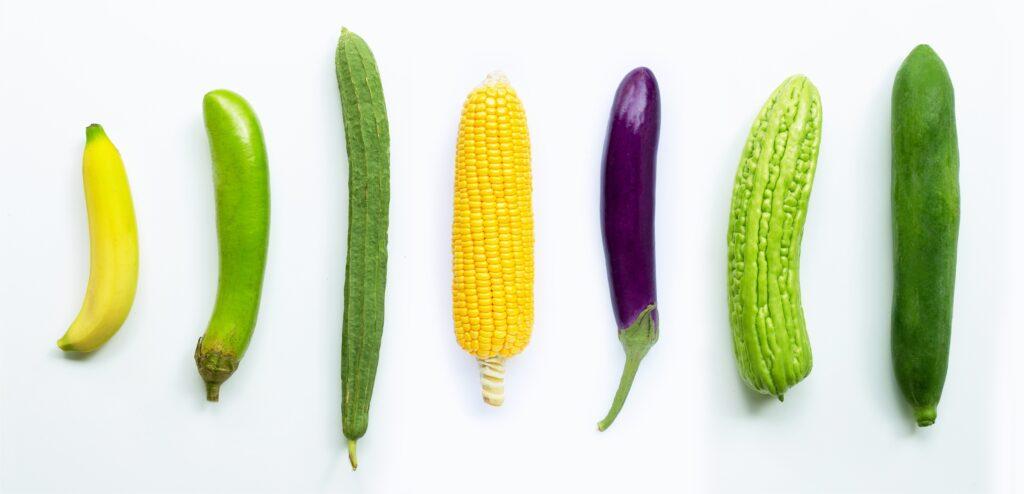 овощи разного диаметра