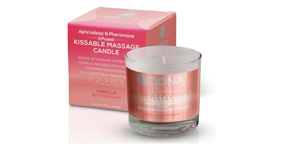 System JO Вкусовая массажная свеча с феромонами и ароматом «Ванильный крем» DONA Kissable Massage Candle Vanil.