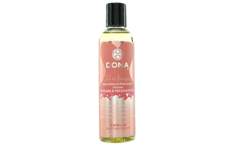 System JO – Вкусовое массажное масло с феромонами и ароматом Ванильный крем DONA Kissable Massage Oil Vanilla.