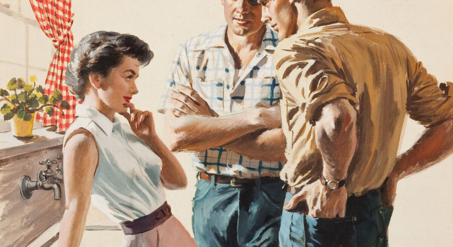девушка флиртует с парнями