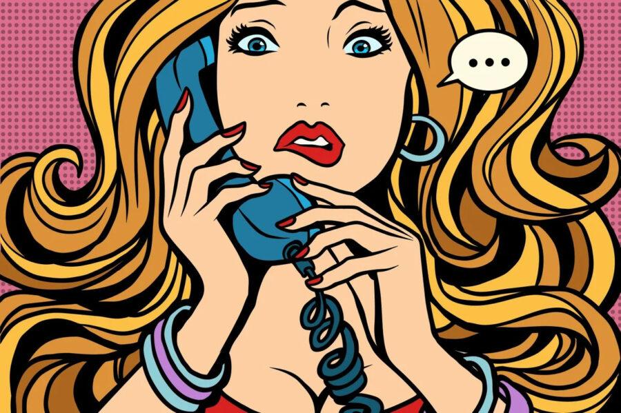 арт девушки с телефоном