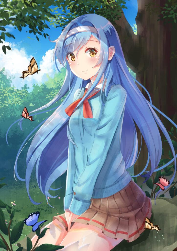 Аниме девушки с синими волосами (много ФОТО)