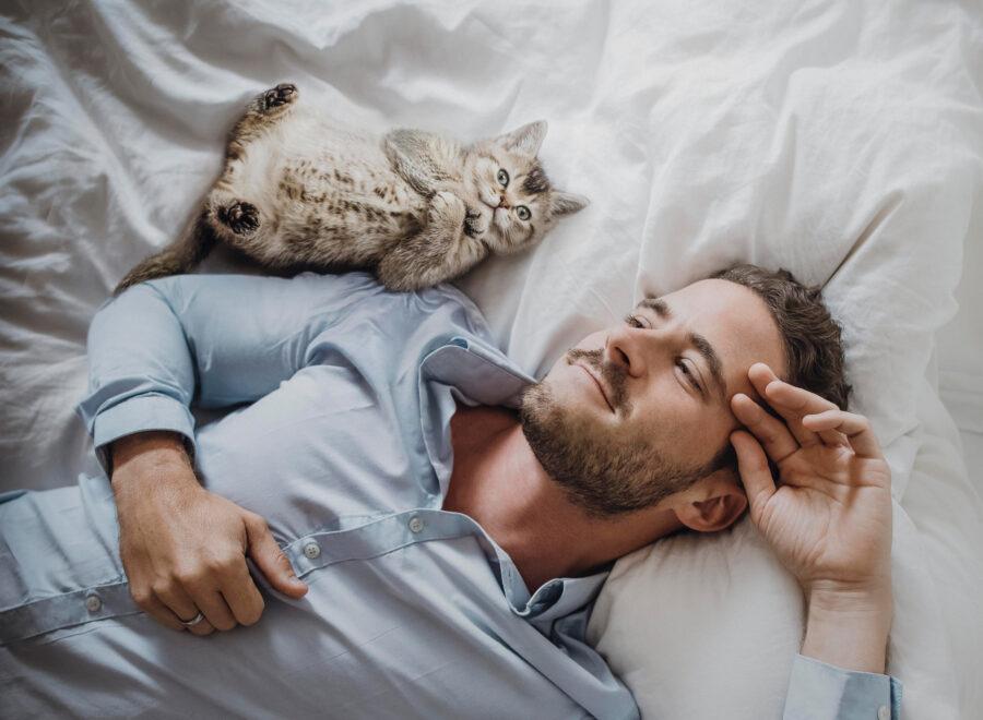 парень спит с котиком