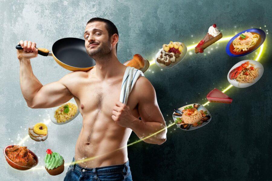 подтянутый парень со сковородой