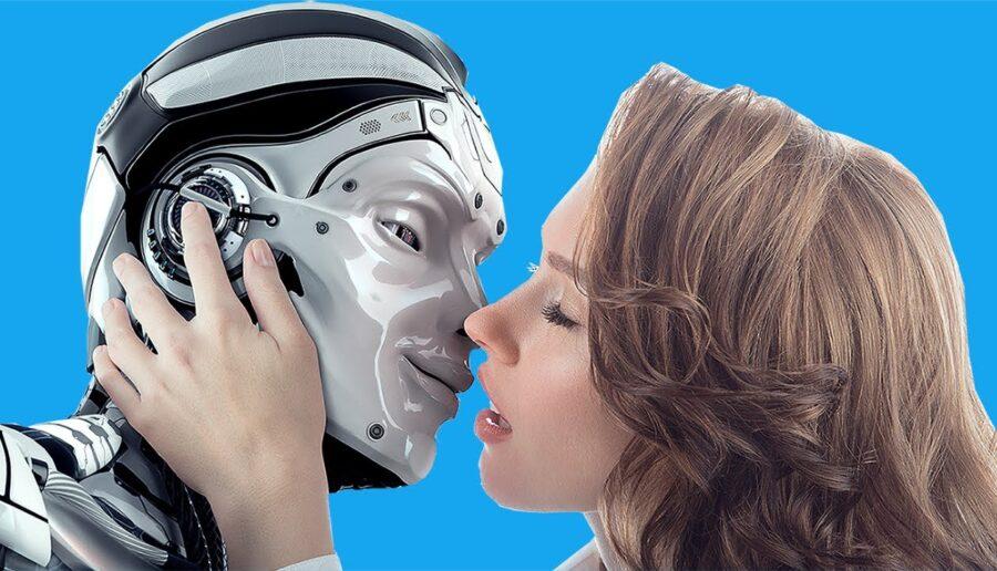 девушка целует робота