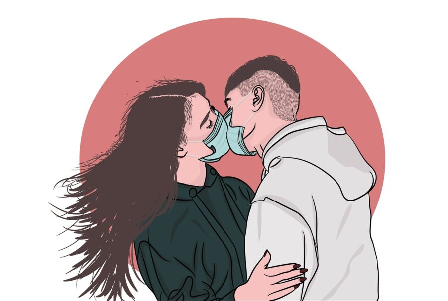поцелуй через маску
